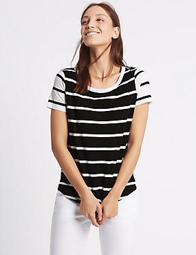 Pure Cotton Block Striped T-Shirt, BLACK MIX, catlanding