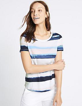Pure Cotton Watercolour Stripe T-Shirt, BLUE MIX, catlanding