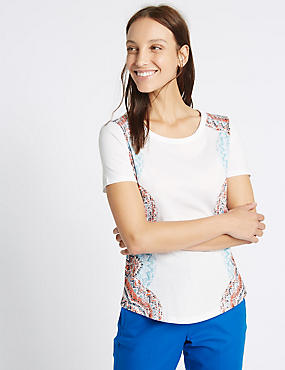 Pure Cotton Printed Short Sleeve T-Shirt, WHITE MIX, catlanding