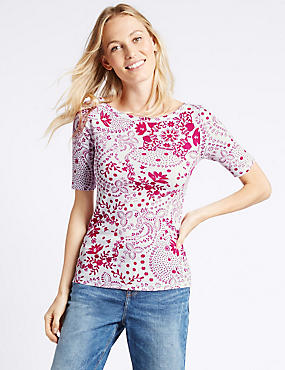 Pure Cotton Swirl Print Half Sleeve T-Shirt, BRIGHT PINK MIX, catlanding