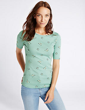 Pure Cotton Butterfly Print T-Shirt, AQUA MIX, catlanding
