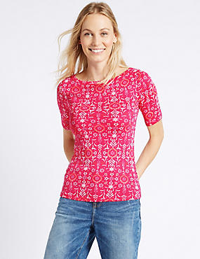 Pure Cotton Floral Print T-Shirt, BRIGHT PINK MIX, catlanding