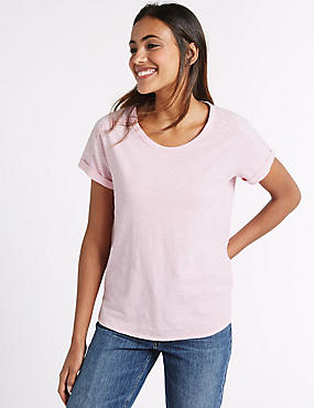 Pure Cotton Ladder Trim T-Shirt, BLUSH, catlanding