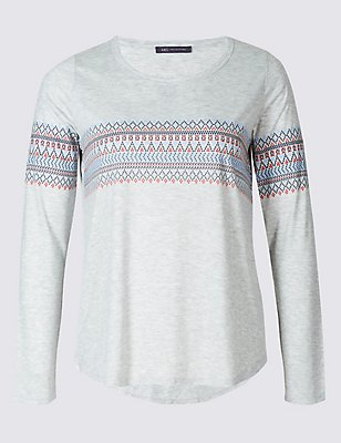PLUS Fairisle Print Long Sleeve T-Shirt, GREY MIX, catlanding