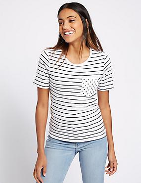 Pure Cotton Striped Short Sleeve T-Shirt, WHITE MIX, catlanding