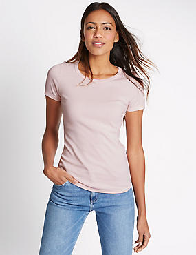 Pure Cotton Round Neck Short Sleeve T-Shirt, BLUSH, catlanding