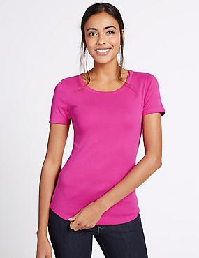 Pure Cotton Round Neck Short Sleeve T-Shirt, MAGENTA, catlanding