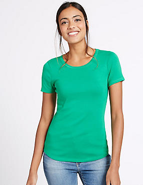 Pure Cotton Round Neck Short Sleeve T-Shirt, GREEN, catlanding