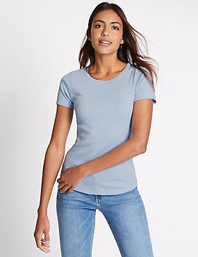 Puur katoenen T-shirt met ronde hals en korte mouwen, LICHTBLAUW, catlanding