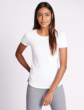 Pure Cotton Round Neck Short Sleeve T-Shirt, BLANC, catlanding