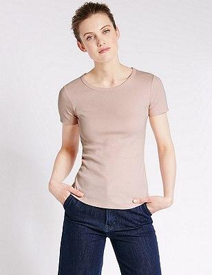 Pure Cotton Short Sleeve T-Shirt, LIGHT PINK, catlanding