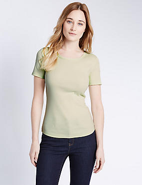 Pure Cotton Short Sleeve T-Shirt, LIME, catlanding