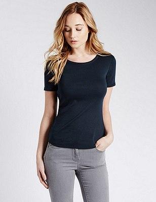 Pure Cotton Short Sleeve T-Shirt, NAVY, catlanding