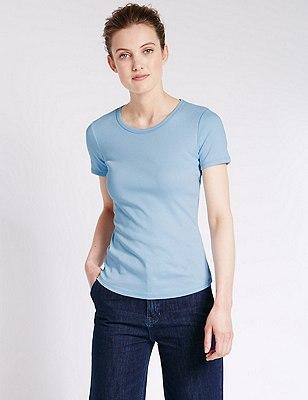 Pure Cotton Short Sleeve T-Shirt, PALE BLUE, catlanding