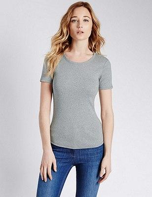 Pure Cotton Short Sleeve T-Shirt, GREY MARL, catlanding