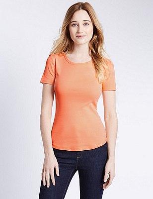 Pure Cotton Short Sleeve T-Shirt, APRICOT, catlanding
