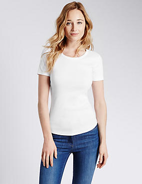 Pure Cotton Short Sleeve T-Shirt, WHITE, catlanding