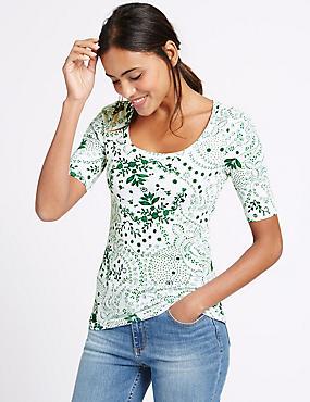 Pure Cotton Floral Print Scoop Neck T-Shirt, GREEN MIX, catlanding