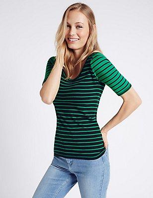 Pure Cotton Contrasting Sleeve T-Shirt, GREEN MIX, catlanding