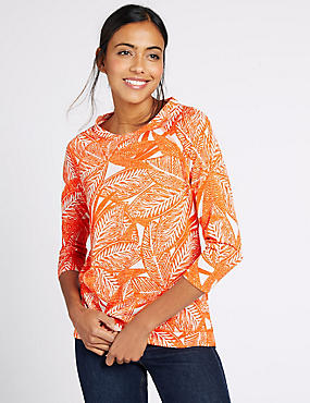Leaf Print Raglan 3/4 Sleeve T-Shirt, ORANGE MIX, catlanding