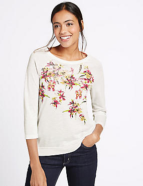 Floral Print Raglan 3/4 Sleeve T-Shirt, WHITE MIX, catlanding
