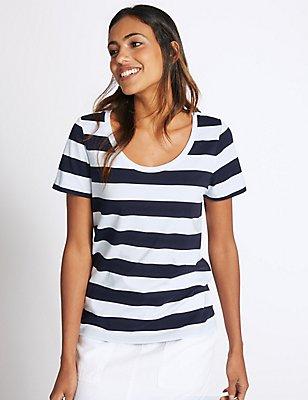 Gestreiftes T-Shirt aus reiner Supima-Baumwolle, MARINEBLAU MELANGE, catlanding