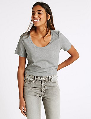 Pure Cotton Short Sleeve T-Shirt, GREY, catlanding