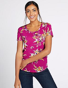 Floral Print Dipped Hem T-Shirt, MAGENTA MIX, catlanding