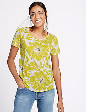 Floral Print Round Neck Half Sleeve T-Shirt, LIME MIX, catlanding