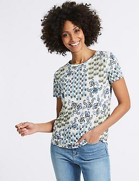 Geometrical Print Short Sleeve T-Shirt, KHAKI MIX, catlanding