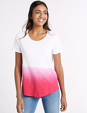 Pure Cotton Relaxed Dip Dye T-Shirt, BRIGHT PINK MIX, catlanding