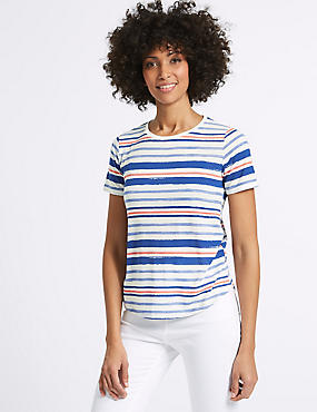 Striped Round Neck Short Sleeve T-Shirt , NAVY MIX, catlanding