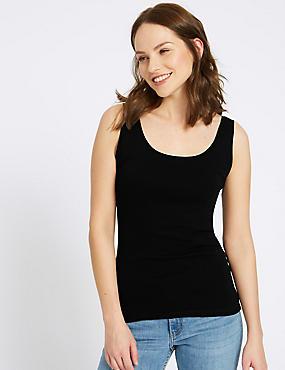 Pure Cotton Round Neck Vest Top, BLACK, catlanding