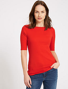Pure Cotton Round Neck Half Sleeve T-Shirt , RED, catlanding