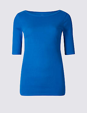 Pure Cotton Round Neck Half Sleeve T-Shirt , BRIGHT BLUE, catlanding