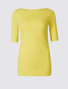 Pure Cotton Round Neck Half Sleeve T-Shirt , MIMOSA, catlanding