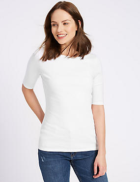 Pure Cotton Round Neck Half Sleeve T-Shirt , WHITE, catlanding