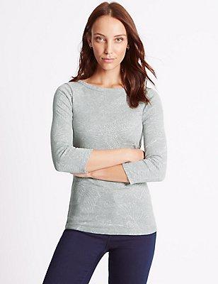 Bedrucktes T-Shirt aus reiner Baumwolle mit 3/4-Arm, , catlanding