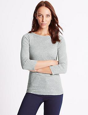 Pure Cotton Printed 3/4 Sleeve T-Shirt, GREY MARL, catlanding