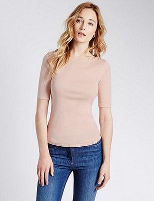 Pure Cotton Slash Neck T-Shirt, LIGHT PINK, catlanding