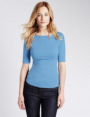 Pure Cotton Slash Neck T-Shirt, CORNFLOWER, catlanding