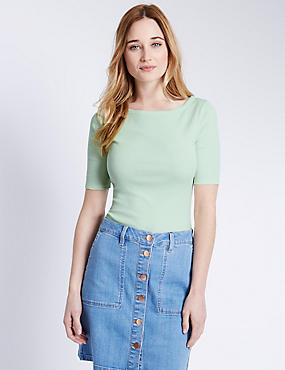 Pure Cotton Slash Neck T-Shirt, LIME, catlanding