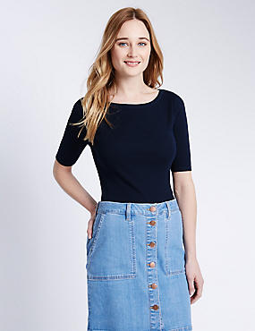 Pure Cotton Slash Neck T-Shirt, NAVY, catlanding