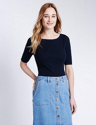 Pure Cotton Slash Neck T-Shirt, NAVY, catlanding