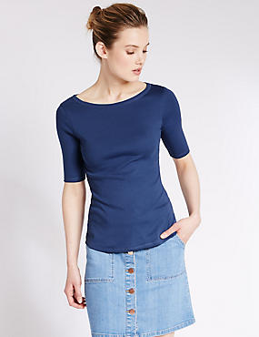 Pure Cotton Slash Neck T-Shirt, DENIM, catlanding