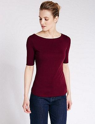 Pure Cotton Slash Neck T-Shirt, DARK CLARET, catlanding