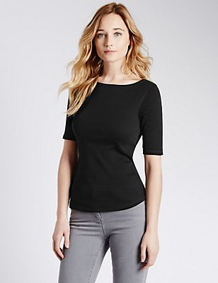 Pure Cotton Slash Neck Half Sleeve T-Shirt, BLACK, catlanding