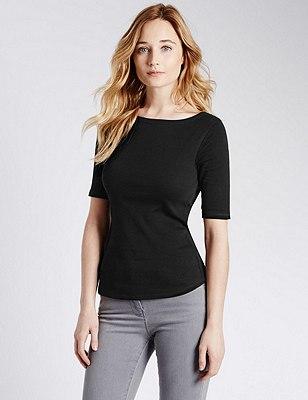 Pure Cotton Slash Neck T-Shirt, BLACK, catlanding