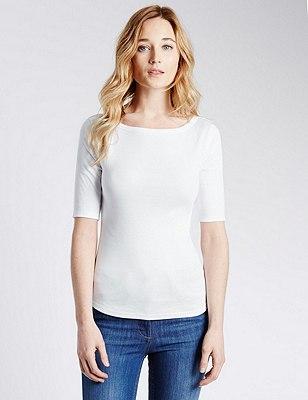Pure Cotton Slash Neck T-Shirt, WHITE, catlanding