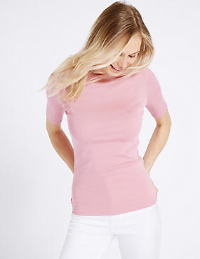 Pure Cotton Slash Neck Half Sleeve T-Shirt, PINK, catlanding